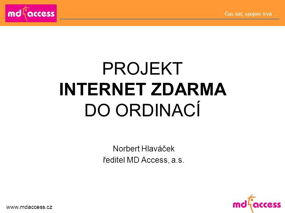 Čas letí, spojení trvá … www.mdaccess.cz PROJEKT INTERNET ZDARMA DO ORDINACÍ Norbert Hlaváček ředitel MD Access, a.s.