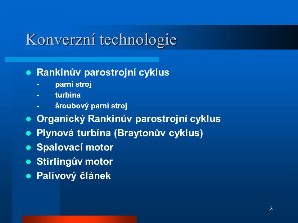 2 Konverzní technologie  Rankinův parostrojní cyklus -parní stroj -turbína -šroubový parní stroj  Organický Rankinův parostrojní cyklus  Plynová turbína (Braytonův cyklus)  Spalovací motor  Stirlingův motor  Palivový článek