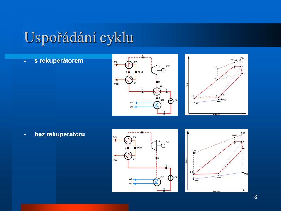 6 Uspořádání cyklu -s rekuperátorem -bez rekuperátoru