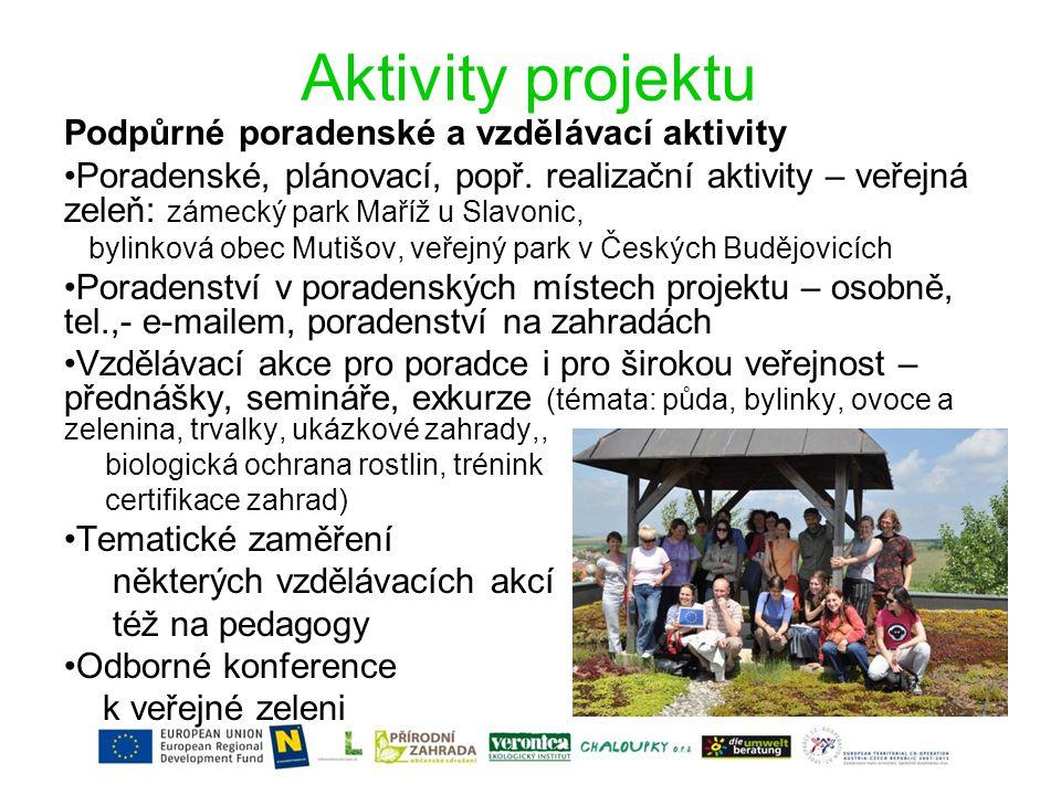 Aktivity projektu Podpůrné poradenské a vzdělávací aktivity •Poradenské, plánovací, popř.