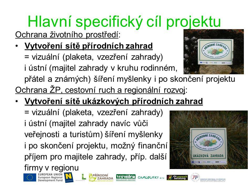 Hlavní specifický cíl projektu Ochrana životního prostředí: •Vytvoření sítě přírodních zahrad = vizuální (plaketa, vzezření zahrady) i ústní (majitel zahrady v kruhu rodinném, přátel a známých) šíření myšlenky i po skončení projektu Ochrana ŽP, cestovní ruch a regionální rozvoj: •Vytvoření sítě ukázkových přírodních zahrad = vizuální (plaketa, vzezření zahrady) i ústní (majitel zahrady navíc vůči veřejnosti a turistům) šíření myšlenky i po skončení projektu, možný finanční příjem pro majitele zahrady, příp.