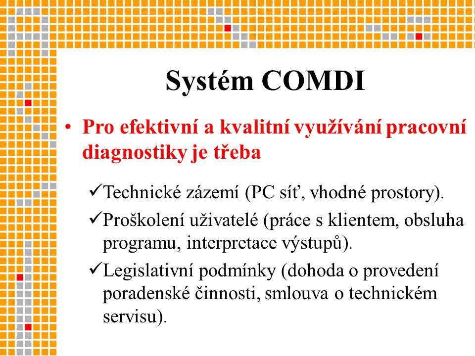 •Pro efektivní a kvalitní využívání pracovní diagnostiky je třeba  Technické zázemí (PC síť, vhodné prostory).
