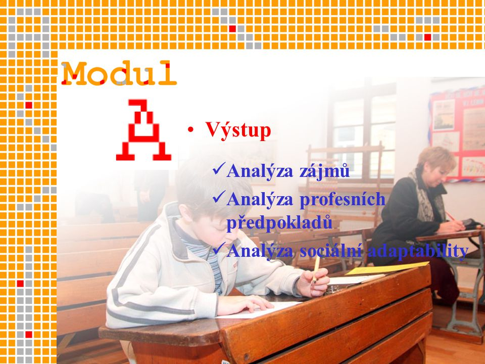 •Výstup  Analýza zájmů  Analýza profesních předpokladů  Analýza sociální adaptability
