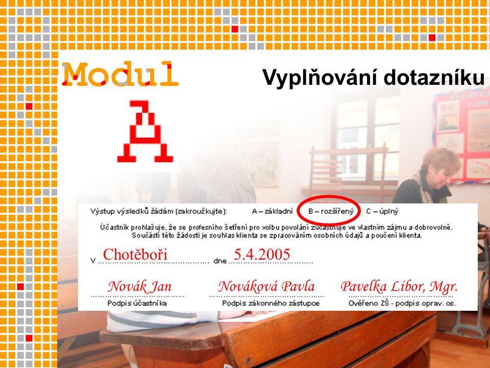 Chotěboři5.4.2005 Novák JanNováková PavlaPavelka Libor, Mgr. Vyplňování dotazníku