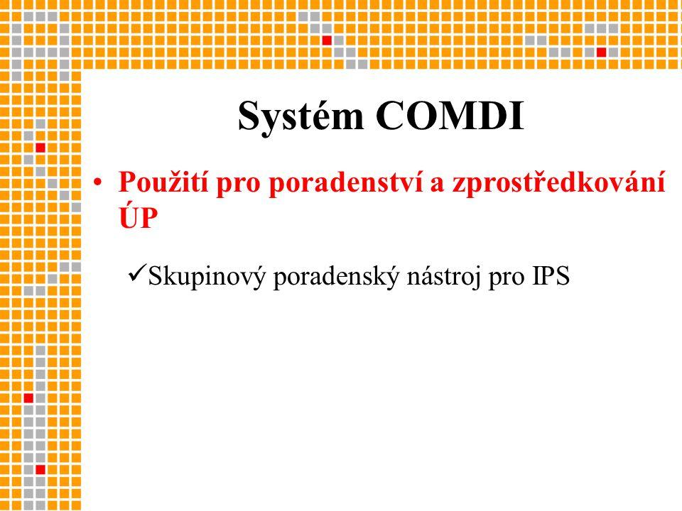 •Použití pro poradenství a zprostředkování ÚP  Skupinový poradenský nástroj pro IPS