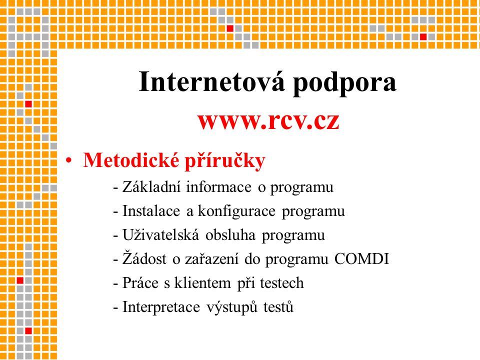 Internetová podpora •Metodické příručky - Základní informace o programu - Instalace a konfigurace programu - Uživatelská obsluha programu - Žádost o zařazení do programu COMDI - Práce s klientem při testech - Interpretace výstupů testů www.rcv.cz