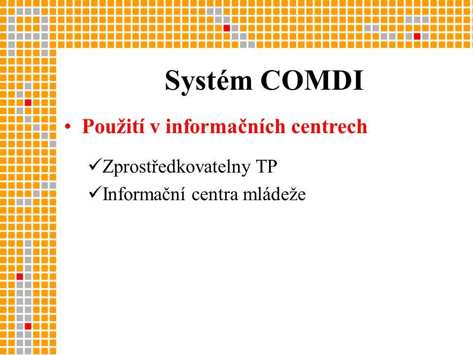 Systém COMDI •Použití v informačních centrech  Zprostředkovatelny TP  Informační centra mládeže