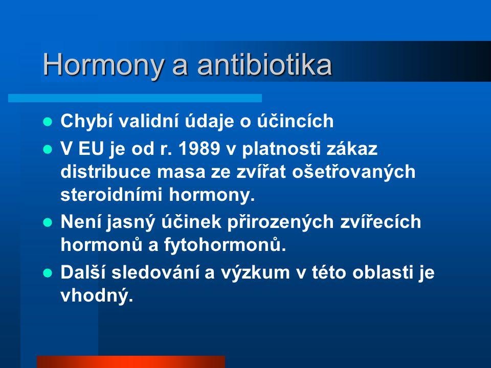 Hormony a antibiotika  Chybí validní údaje o účincích  V EU je od r. 1989 v platnosti zákaz distribuce masa ze zvířat ošetřovaných steroidními hormo