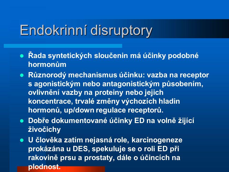 Endokrinní disruptory  Řada syntetických sloučenin má účinky podobné hormonům  Různorodý mechanismus účinku: vazba na receptor s agonistickým nebo a