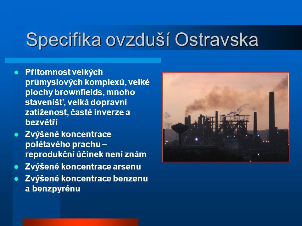 Specifika ovzduší Ostravska  Přítomnost velkých průmyslových komplexů, velké plochy brownfields, mnoho stavenišť, velká dopravní zatíženost, časté inverze a bezvětří  Zvýšené koncentrace polétavého prachu – reprodukční účinek není znám  Zvýšené koncentrace arsenu  Zvýšené koncentrace benzenu a benzpyrénu