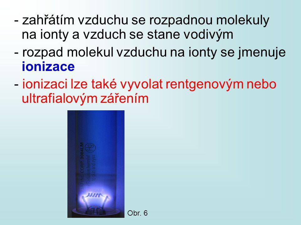 - zahřátím vzduchu se rozpadnou molekuly na ionty a vzduch se stane vodivým - rozpad molekul vzduchu na ionty se jmenuje ionizace - ionizaci lze také