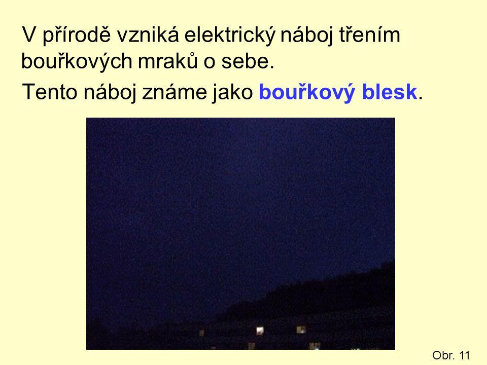 V přírodě vzniká elektrický náboj třením bouřkových mraků o sebe. Tento náboj známe jako bouřkový blesk. Obr. 11