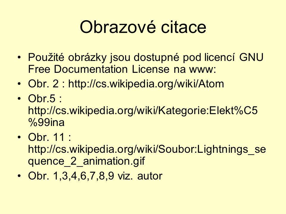 Obrazové citace •Použité obrázky jsou dostupné pod licencí GNU Free Documentation License na www: •Obr. 2 : http://cs.wikipedia.org/wiki/Atom •Obr.5 :