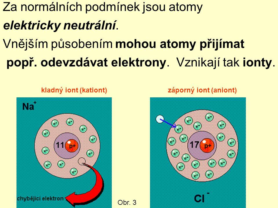 Za normálních podmínek jsou atomy elektricky neutrální. Vnějším působením mohou atomy přijímat popř. odevzdávat elektrony. Vznikají tak ionty. kladný