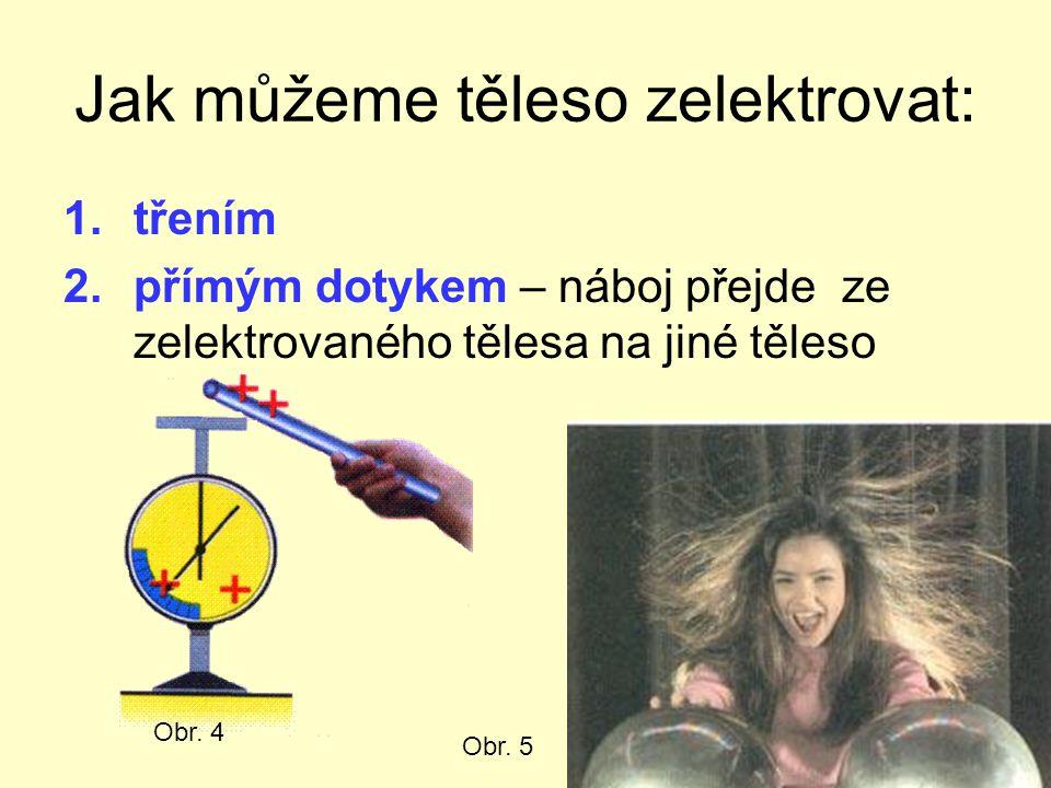 Jak můžeme těleso zelektrovat: 1.třením 2.přímým dotykem – náboj přejde ze zelektrovaného tělesa na jiné těleso Obr. 4 Obr. 5