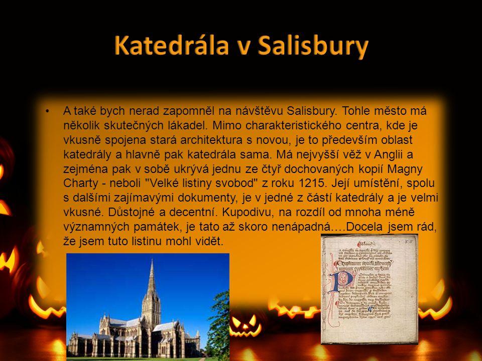 •A také bych nerad zapomněl na návštěvu Salisbury. Tohle město má několik skutečných lákadel. Mimo charakteristického centra, kde je vkusně spojena st