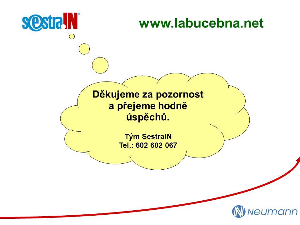Děkujeme za pozornost a přejeme hodně úspěchů. Tým SestraIN Tel.: 602 602 067 www.labucebna.net