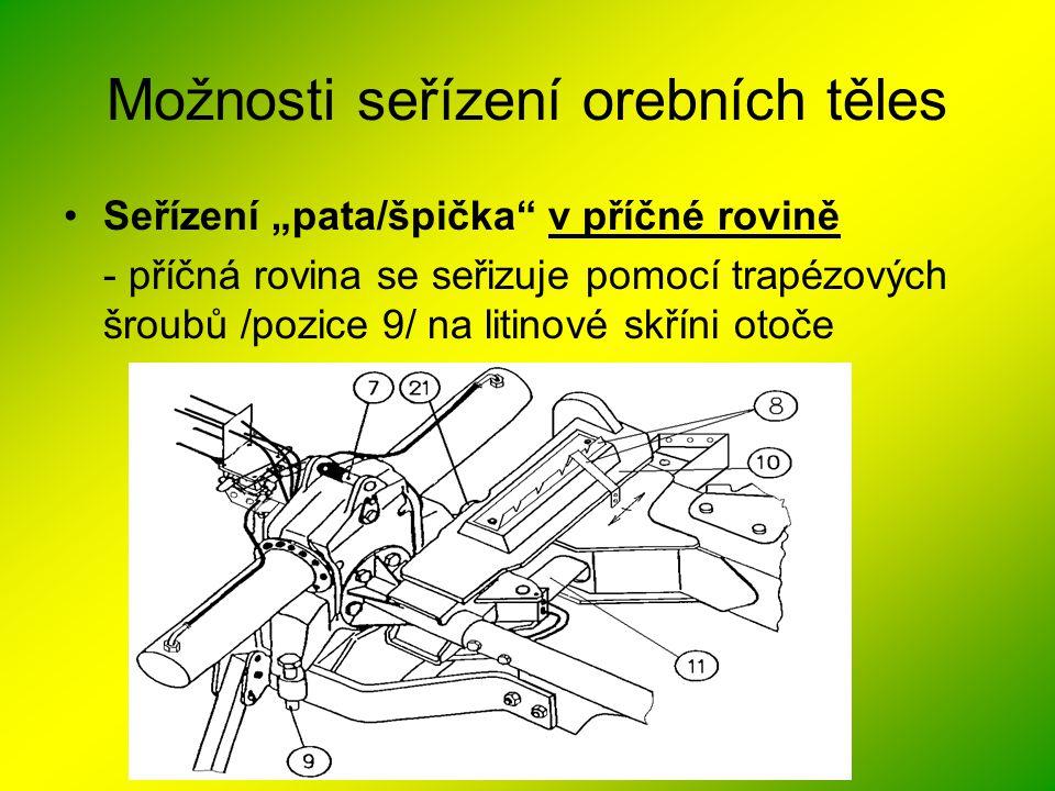 """Možnosti seřízení orebních těles •Seřízení """"pata/špička"""" v příčné rovině - příčná rovina se seřizuje pomocí trapézových šroubů /pozice 9/ na litinové"""