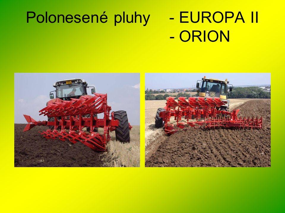 Polonesené pluhy EUROPA II ROK 2010 •EUROPA II 160 - profil rámu 160x160mm,*, tloušťka stěny 10mm - rozestup oreb.
