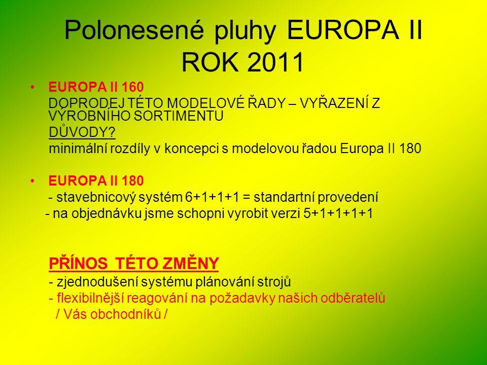 Polonesené pluhy EUROPA II ROK 2011 •EUROPA II 160 DOPRODEJ TÉTO MODELOVÉ ŘADY – VYŘAZENÍ Z VÝROBNÍHO SORTIMENTU DŮVODY? minimální rozdíly v koncepci