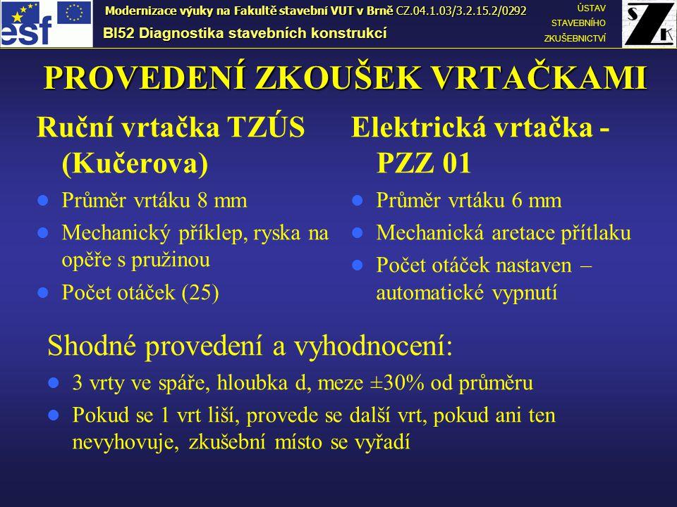 PROVEDENÍ ZKOUŠEK VRTAČKAMI BI52 Diagnostika stavebních konstrukcí ÚSTAV STAVEBNÍHO ZKUŠEBNICTVÍ Modernizace výuky na Fakultě stavební VUT v Brně CZ.0