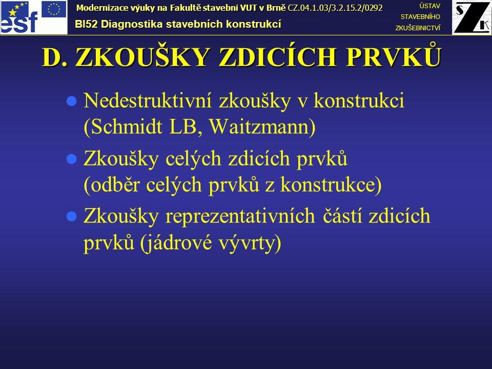 D. ZKOUŠKY ZDICÍCH PRVKŮ BI52 Diagnostika stavebních konstrukcí ÚSTAV STAVEBNÍHO ZKUŠEBNICTVÍ Modernizace výuky na Fakultě stavební VUT v Brně CZ.04.1
