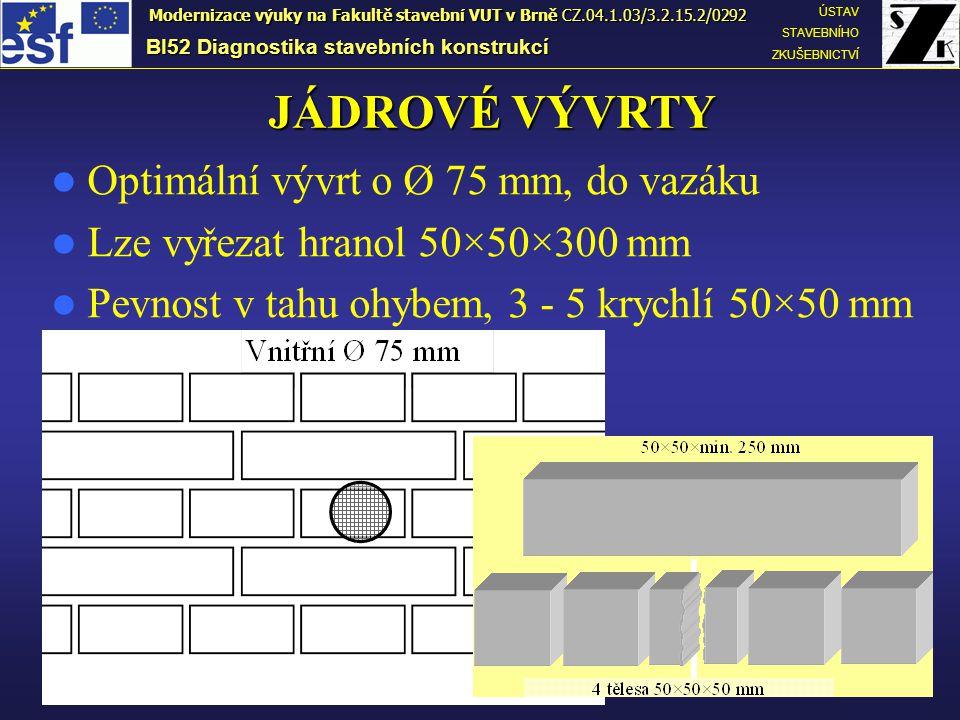 BI52 Diagnostika stavebních konstrukcí ÚSTAV STAVEBNÍHO ZKUŠEBNICTVÍ Modernizace výuky na Fakultě stavební VUT v Brně CZ.04.1.03/3.2.15.2/0292 JÁDROVÉ