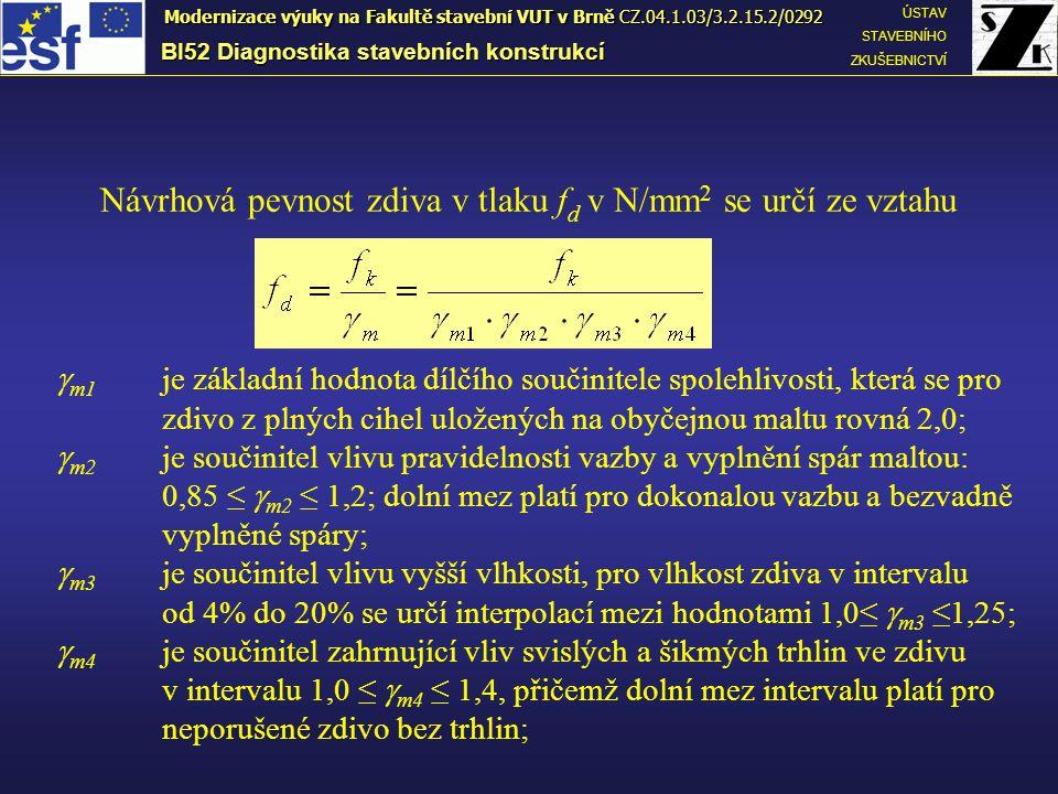 BI52 Diagnostika stavebních konstrukcí ÚSTAV STAVEBNÍHO ZKUŠEBNICTVÍ Modernizace výuky na Fakultě stavební VUT v Brně CZ.04.1.03/3.2.15.2/0292 Návrhov