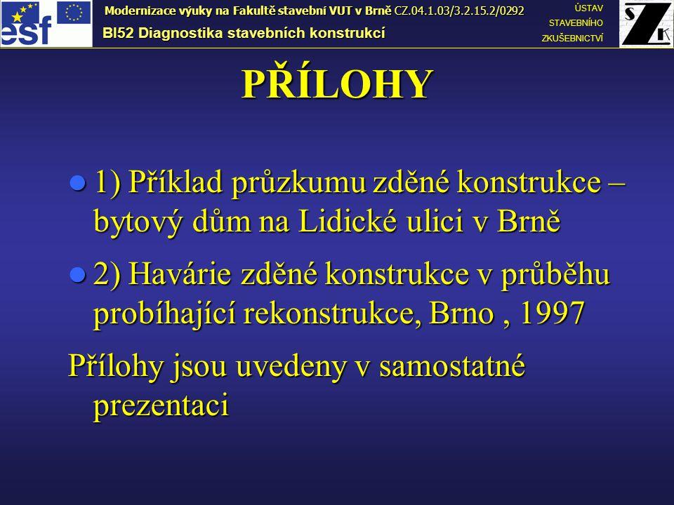 PŘÍLOHY  1) Příklad průzkumu zděné konstrukce – bytový dům na Lidické ulici v Brně  2) Havárie zděné konstrukce v průběhu probíhající rekonstrukce,