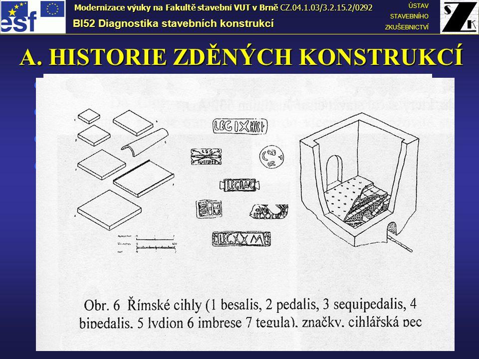 A. HISTORIE ZDĚNÝCH KONSTRUKCÍ  Cihly – nejstarší umělé stavivo, 10000-8000 BC;  Formy na výrobu – Mezopotámie 5000 BC;  Vypalování cihel – 3500 BC