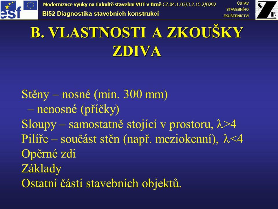 Normalizovaná pevnost v tlaku zdicích prvků f b BI52 Diagnostika stavebních konstrukcí ÚSTAV STAVEBNÍHO ZKUŠEBNICTVÍ Modernizace výuky na Fakultě stavební VUT v Brně CZ.04.1.03/3.2.15.2/0292 Při návrhu a výpočtech se používá tzv.