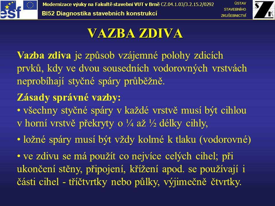 Vazby zdiva BI52 Diagnostika stavebních konstrukcí ÚSTAV STAVEBNÍHO ZKUŠEBNICTVÍ Modernizace výuky na Fakultě stavební VUT v Brně CZ.04.1.03/3.2.15.2/0292  1) běhounová2) vazáková  3) polokřížová4) křížová