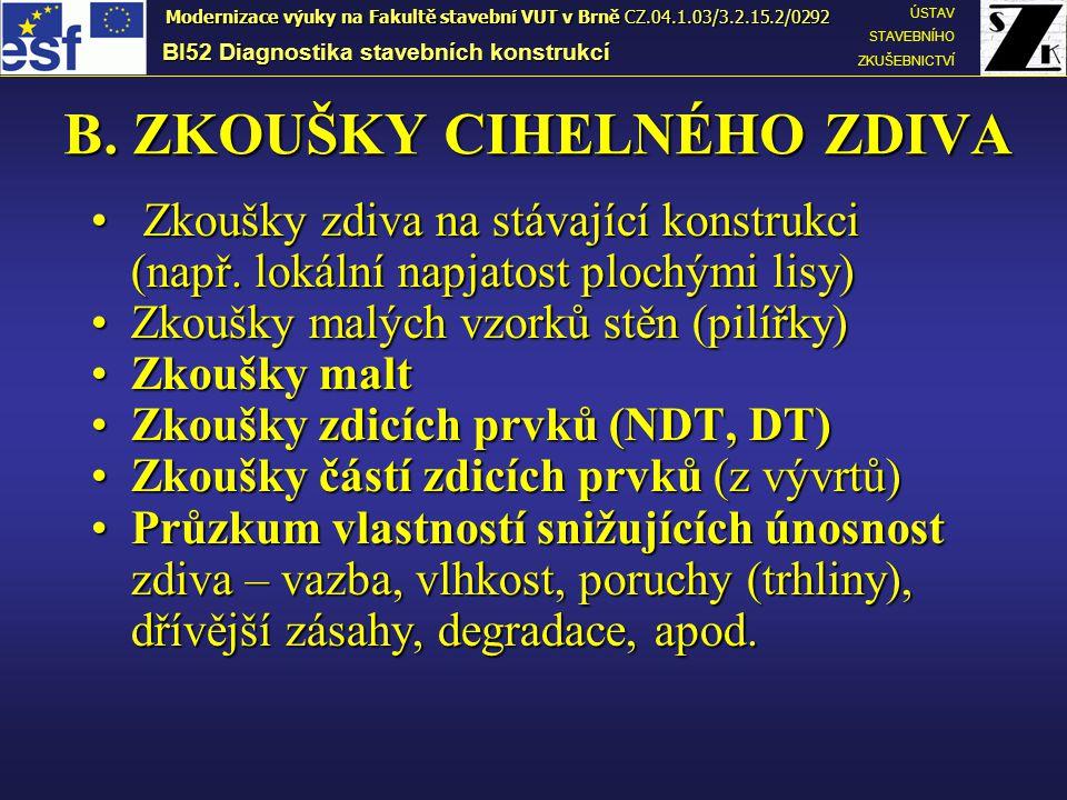 BI52 Diagnostika stavebních konstrukcí ÚSTAV STAVEBNÍHO ZKUŠEBNICTVÍ Modernizace výuky na Fakultě stavební VUT v Brně CZ.04.1.03/3.2.15.2/0292 Návrhová pevnost zdiva v tlaku f d v N/mm 2 se určí ze vztahu  m1 je základní hodnota dílčího součinitele spolehlivosti, která se pro zdivo z plných cihel uložených na obyčejnou maltu rovná 2,0;  m2 je součinitel vlivu pravidelnosti vazby a vyplnění spár maltou: 0,85 ≤  m2 ≤ 1,2; dolní mez platí pro dokonalou vazbu a bezvadně vyplněné spáry;  m3 je součinitel vlivu vyšší vlhkosti, pro vlhkost zdiva v intervalu od 4% do 20% se určí interpolací mezi hodnotami 1,0≤  m3 ≤1,25;  m4 je součinitel zahrnující vliv svislých a šikmých trhlin ve zdivu v intervalu 1,0 ≤  m4 ≤ 1,4, přičemž dolní mez intervalu platí pro neporušené zdivo bez trhlin;