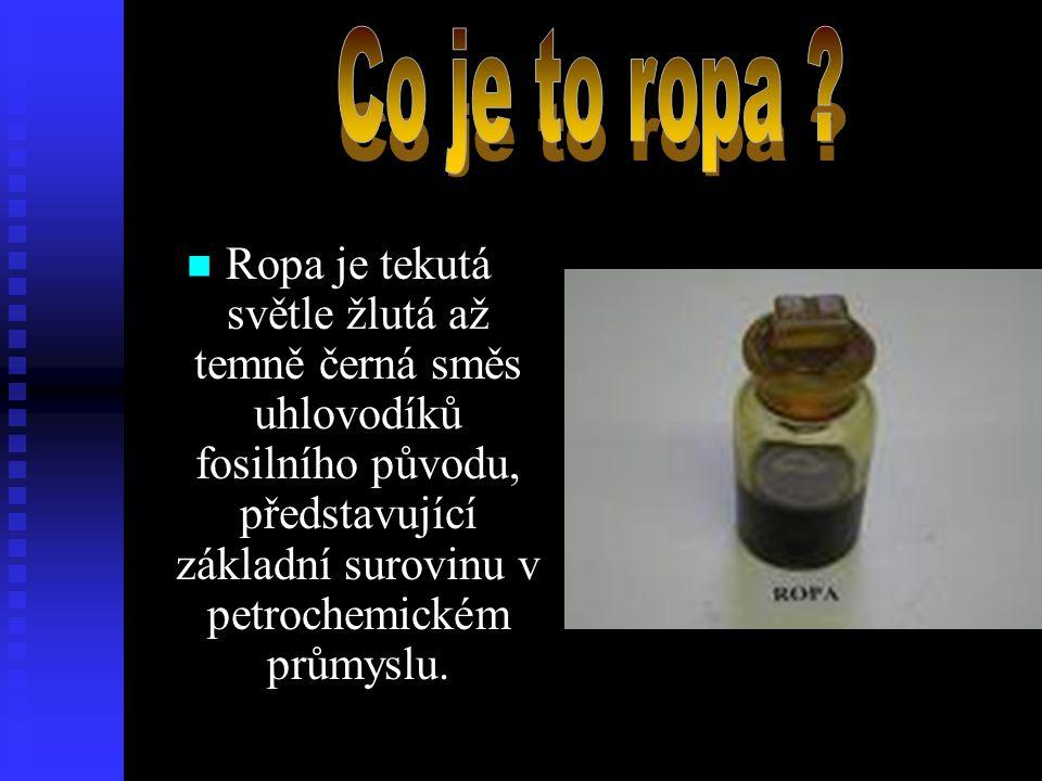  Ropa je tekutá světle žlutá až temně černá směs uhlovodíků fosilního původu, představující základní surovinu v petrochemickém průmyslu.