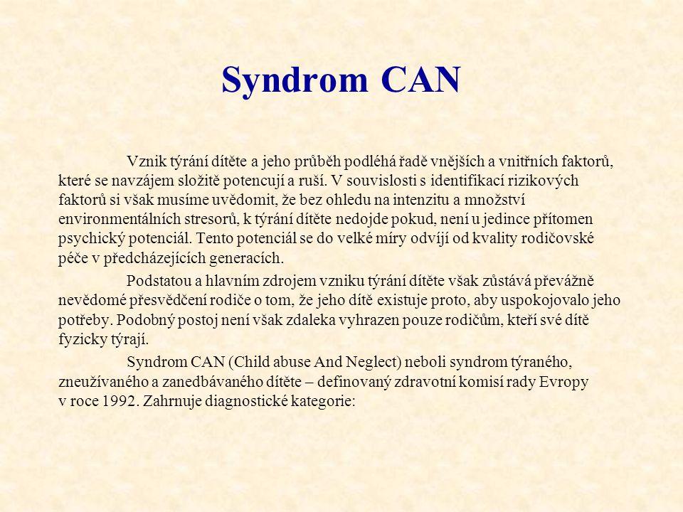 Syndrom CAN Vznik týrání dítěte a jeho průběh podléhá řadě vnějších a vnitřních faktorů, které se navzájem složitě potencují a ruší. V souvislosti s i