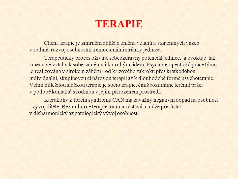 TERAPIE Cílem terapie je zmírnění obtíží a změna vztahů a vzájemných vazeb v rodině, rozvoj osobnostní a emocionální stránky jedince. Terapeutický pro