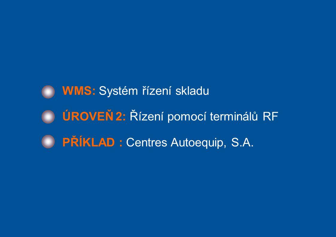 WMS: Systém řízení skladu ÚROVEŇ 2: Řízení pomocí terminálů RF PŘÍKLAD : Centres Autoequip, S.A.