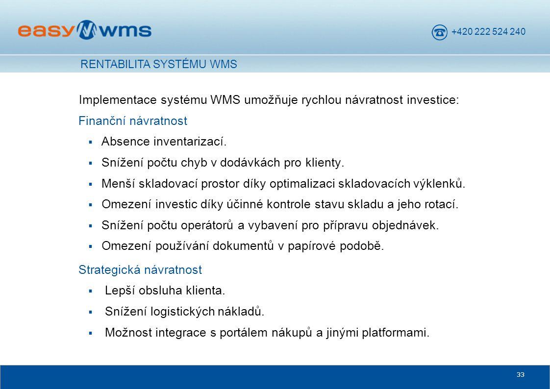 +420 222 524 240 33 Implementace systému WMS umožňuje rychlou návratnost investice: Finanční návratnost  Absence inventarizací.  Snížení počtu chyb