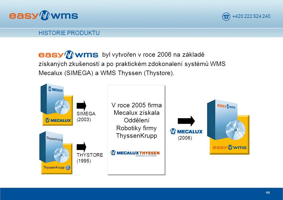 +420 222 524 240 48 byl vytvořen v roce 2006 na základě získaných zkušeností a po praktickém zdokonalení systémů WMS Mecalux (SIMEGA) a WMS Thyssen (T