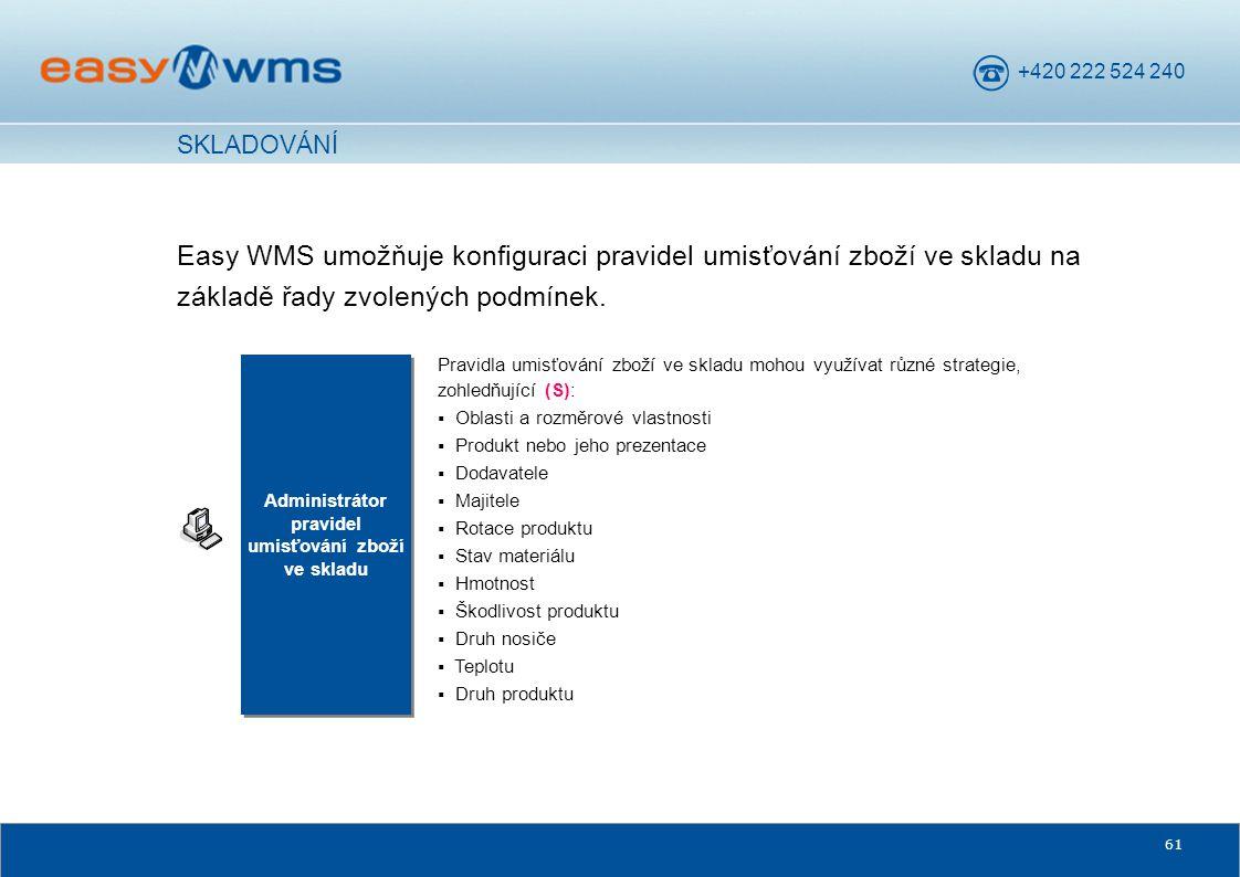 +420 222 524 240 61 Easy WMS umožňuje konfiguraci pravidel umisťování zboží ve skladu na základě řady zvolených podmínek. Administrátor pravidel umisť