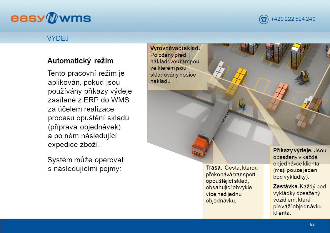 +420 222 524 240 68 Automatický režim Tento pracovní režim je aplikován, pokud jsou používány příkazy výdeje zasílané z ERP do WMS za účelem realizace