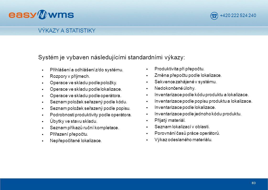 +420 222 524 240 83 Systém je vybaven následujícími standardními výkazy: VÝKAZY A STATISTIKY  Přihlášení a odhlášení z/do systému.  Rozpory v příjme