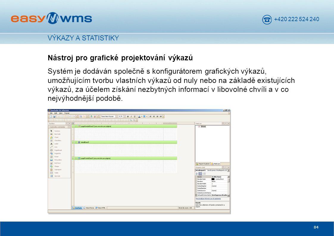 +420 222 524 240 84 Nástroj pro grafické projektování výkazů Systém je dodáván společně s konfigurátorem grafických výkazů, umožňujícím tvorbu vlastní