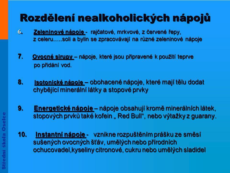 Střední škola Oselce Rozdělení nealkoholických nápojů 6.