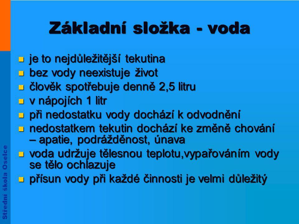 Střední škola Oselce Rozdělení minerálních vod 3.