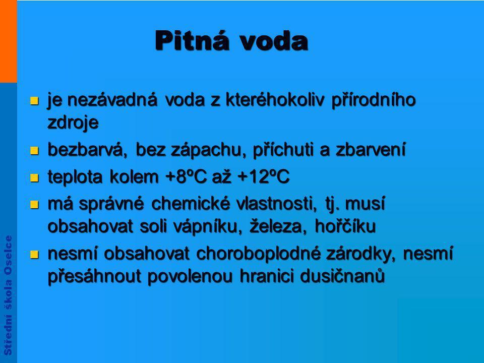 Střední škola Oselce Pitná voda  je nezávadná voda z kteréhokoliv přírodního zdroje  bezbarvá, bez zápachu, příchuti a zbarvení  teplota kolem +8ºC až +12ºC  má správné chemické vlastnosti, tj.