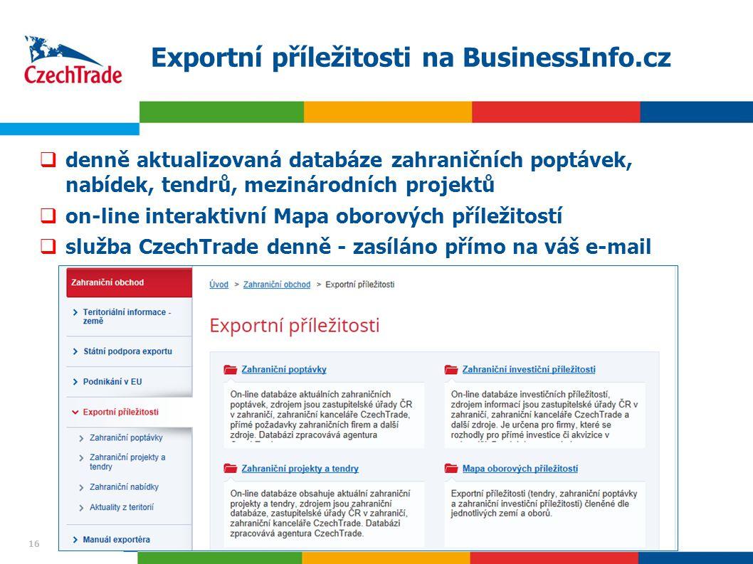 16 Exportní příležitosti na BusinessInfo.cz  denně aktualizovaná databáze zahraničních poptávek, nabídek, tendrů, mezinárodních projektů  on-line interaktivní Mapa oborových příležitostí  služba CzechTrade denně - zasíláno přímo na váš e-mail 16
