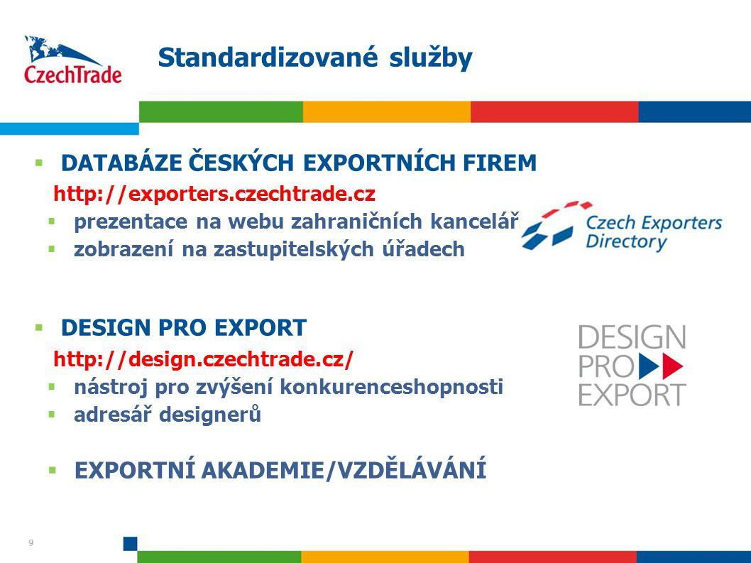 9 Standardizované služby 9  DATABÁZE ČESKÝCH EXPORTNÍCH FIREM http://exporters.czechtrade.cz  prezentace na webu zahraničních kanceláří  zobrazení na zastupitelských úřadech  DESIGN PRO EXPORT http://design.czechtrade.cz/  nástroj pro zvýšení konkurenceshopnosti  adresář designerů  EXPORTNÍ AKADEMIE/VZDĚLÁVÁNÍ
