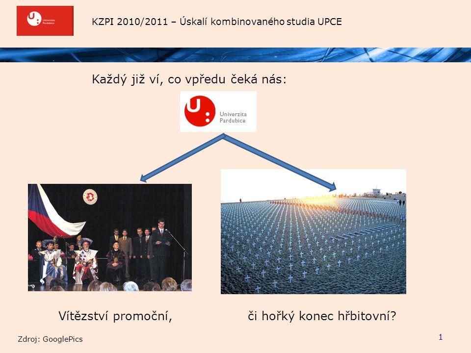KZPI 2010/2011 – Úskalí kombinovaného studia UPCE Každý již ví, co vpředu čeká nás: 1 Vítězství promoční,či hořký konec hřbitovní? Zdroj: GooglePics