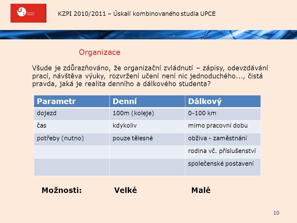 KZPI 2010/2011 – Úskalí kombinovaného studia UPCE Organizace 10 Všude je zdůrazňováno, že organizační zvládnutí – zápisy, odevzdávání prací, návštěva